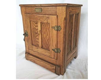 Free Ship Vintage Small Icebox Ice Box Oak White Clad Cabinet Solid Wood  Brass Hardware Fancy