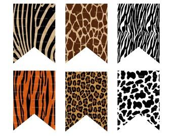 Animal Print Banner, Wild Animal Banner, Safari Banner, Jungle Banner, Animal Print Party Supplies, Jungle Shower -Printables 4 Less 0091