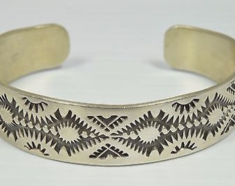 Navajo Montoya Brand Hand Stamped .925 Sterling Silver Cuff Bracelet 30.1 Grams