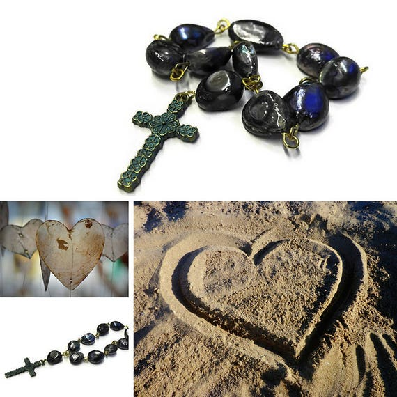 Mini Rosary, prayer beads from black sweet water pearls and Celtic cross