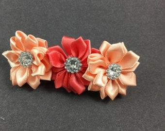 Kanzashi handmade - orange and coral