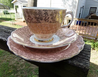 Crown Regent Bone China Tea Cup, Saucer And Desert Plate, Coral With Gold Floral Over All Design, 6 Inch Plate, 5 1/2 Inch Saucer