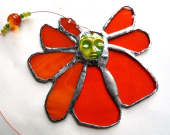 Stained Glass Flower Suncatcher Sunflower with Ceramic Face Cab Centerpiece - Eclipse