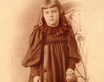 ON SALE Mt. Pulaski Illinois IL Old Vintage Antique Cabinet Card Photo Photograph Cute Little Girl Late 1800's