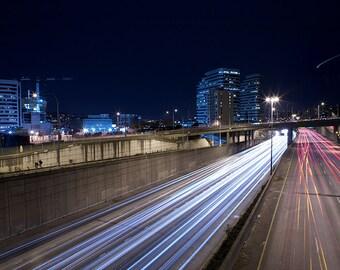 I-5 Through Seattle Washington Photograph - 9x14 Print in a 16x20 Wood Frame