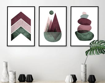 Set Of 3 Downloadable Prints Instant Download Of Scandinavian Mountains Geometric  Balancing Stones Blush Pink Green