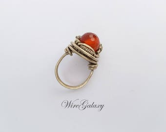 Ring carnelian Wire wrap jewelry Zodiac ring stone Art Deco Anniversary Everyday jewelry Wire wrap Horoscope ring Talisman love jewelry