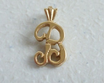 14 KT Gold Initial B Pendant - Gold B Pendant - Vintage Gold Pendant - 14 ct Gold B - Gold Crowned B Pendant - B and Crown 14 kt Pendant