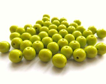 Smooth Opaque Chartreuse Green Round Czech Glass Druk Beads, 6mm - 50 pieces