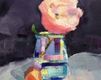 "Together ""Flowering Peony and Irish Daffodil Bulbs"" Floral Still Life Original Epressionist Oil Painting Impressionist  Expressionist"