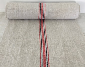 Cadmium Stripe and Navy Blue Twill Natural Limestone Vintage Linen Fabric Striped Sewing Projects Upholstery Bath Mat or Laundry Bag