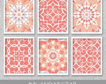 Printable Art, Set of 6 Prints, Printable Wall Art, Coral Art, Coral Wall Art, Printable Artwork, Coral Wall Decor, Bedroom Art, Art Prints