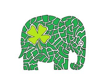 "Elephant artwork - Four Leaf Clover  print - Irish Elephant wall art - Print A5 (5.8"" x 8.3"")"