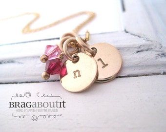 Brag About It Personalized Hand Stamped Jewelry . Necklace . Personalized Jewelry . 14K Gold Filled . Initial Necklace with Birthstone