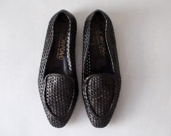 Vintage Black Woven Leather Joan & David Flats