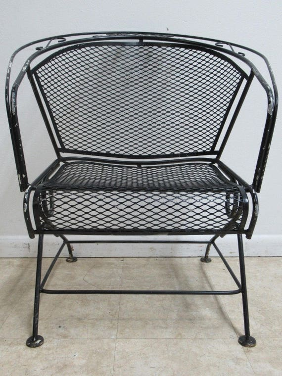 Vintage Woodard Mesh Outdoor Patio Porch Rocking Lounge Chair A