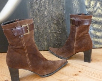 Women's ankle boots - made in ITALY oui - brown leather boots - size 38.5 eur, 7.5 us, 5.5 uk