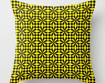 Geometric Cushion, Black Yellow Pillow, Modern Cushion Cover, Cover and Insert, Decorative Pillow, Yellow Throw Pillow, 16x16 18x18 20x20