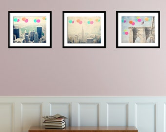 New York City Photography - Balloons Collection- Three 8x10s -  Instant collection - set of 3 photographs - New York skyline