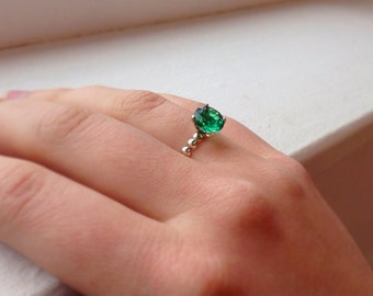 Emerald Half Bead Sterling Silver Ring, May Birthstone, Engagement Ring, Bridesmaids Gifts