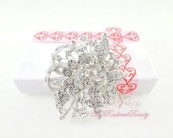 Wedding Brooch, Bridal Rhinestone Crystal Flower Brooch Pin, Bridal Brooch, Wedding Brooch, Bridal Rhinestone Brooch BR0002