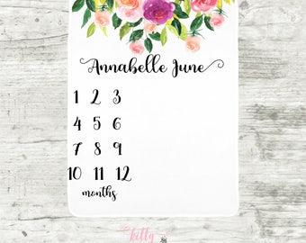 Floral Baby Girl Blanket, Watch Me Grow Blanket, Baby Milestone Blankie, Monthly Baby Blanket, Personalized Baby Blankie, Baby Girl Blanket