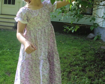 Lilac Colored Butterfly and Floral Peasant Dress Size 7