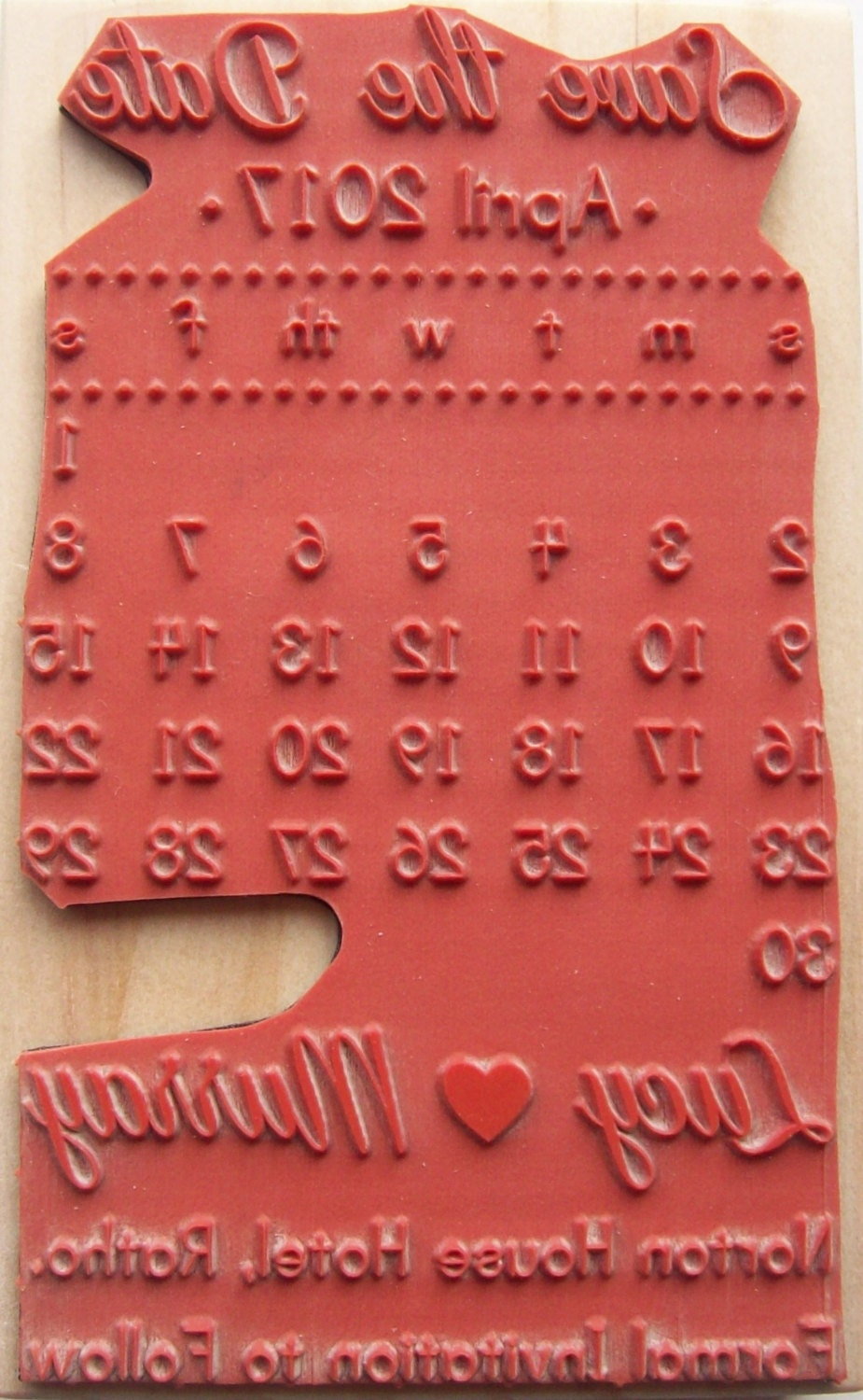 Save the Date Calendar Stamp with Heart Custom Wedding Stamp from ...