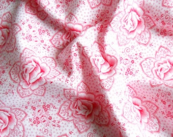 vintage fabric french patchwork fabric antique fabric vintage floral fabric red roses fabric cotton 139