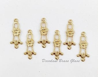 12 pcs. - Brass Connector, Floral Connector, Brass Link, Raw Brass Stamping, Brass Finding, 8mm x 20mm (r316)