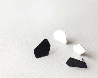 Set of 4 Stud Silver Earrings, Black and White Stud Earrings, Geometric Silver Stud Earrings, Minimalist Sterling Silver Earrings,