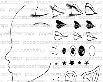 Profile Face Stamp Set - Paperbabe Stamps - Clear Photopolymer Stamps - For paper crafting and scrapbooking.