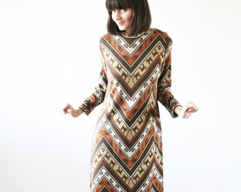 Native print midi dress Aztec pattern dress Brown colors Neckline Modern dress 80 s (S/M)