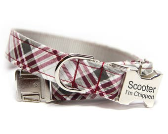 Engraved Tartan Dog Collar, Vintage Plaid Collar