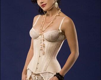 Custom Made Silk Edwardian shape tightlacing underbust waist training corset, bridal lingerie, wedding corset