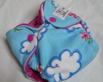 Newborn Fitted Cloth Diaper Clouds and Flowers LAST ONE!  RTS