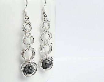 Gemstone drop earrings, snowflake obsidian, silver earrings, black earrings, modern jewellery, circle earrings, gifts for her, healing