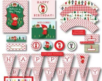 Little Red Riding Hood Party DIY printables cupcake toppers, wrappers, invites, Birthday Kit Instant Download