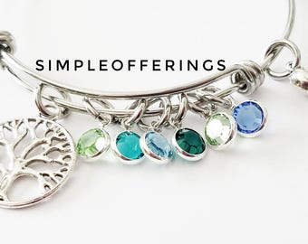Family Tree Bracelet, Mothers Bracelet, Tree of Life Bracelet, Grandma Bracelet, Grandma Gifts, Birthstone Jewelry, Birthstone Bracelet