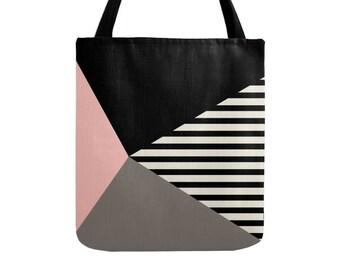 Geometric tote bag geometric bag teal tote bag geometric canvas tote summer tote bag summer bag mid-century tote bag stripes tote bag