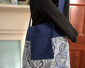 "15"" x 14"" Handmade  Navy Paisley Print Cross body Market Tote Bag with double straps"