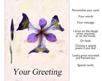 Iris Card, Birthday Card, Anniversary card, Handmade greetings Card, personalised card, artist card, Blank art  card ,
