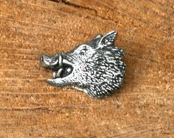 Wild Hog Boar Head Pin Brooch Badge Pewter Hunting Gift