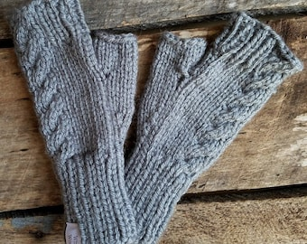 Ready to Ship - Cabled Fingerless Mitts