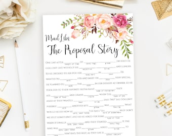 "Mad Libs game template Printable ""The Proposal Story"" Bachelorette party Mad Lib activity DIY Instant download PDF JPEG"