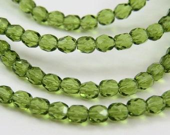 4MM Peridot Green Beads Transparent Faceted Fire Polished Pistachio Czech Glass 50 Beads CFP021