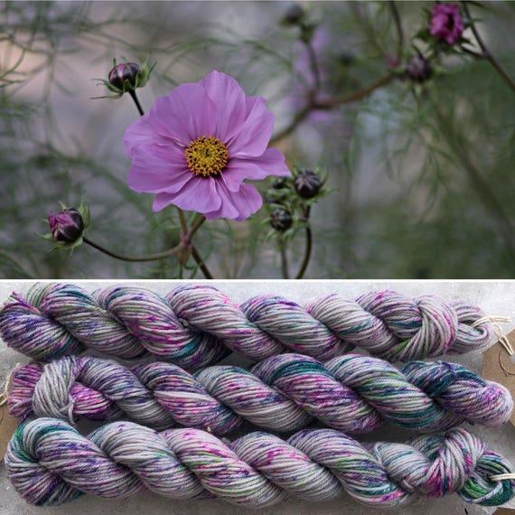 Meadow Bouquet Miniskein 20g, speckled summer indie dyed merino nylon sock yarn grey gray