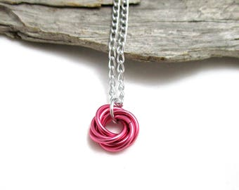 Dark Rose Mobius Chainmaille Necklace - Pink Mobius Pendant - Chain Maille Pendant with Chain - Fidget Necklace - Aluminum Necklace