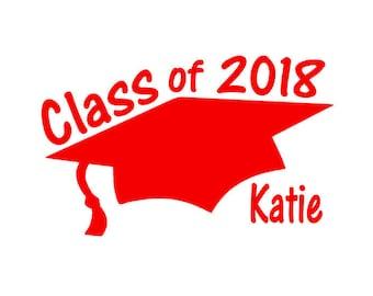 Personalized Class of 2018 Graduation Car Decal,Custom 2018 Grad Gift,Class of 2018 Vinyl,Graduation Party Decorations,Graduation Sticker