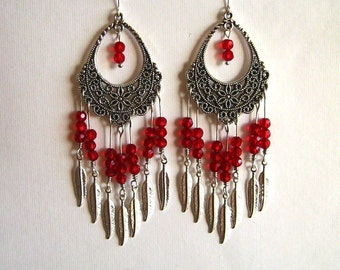 Red Crystal and Silver Feather Filigree Chandelier Earrings Long Red Crystal Chandelier Earrings
